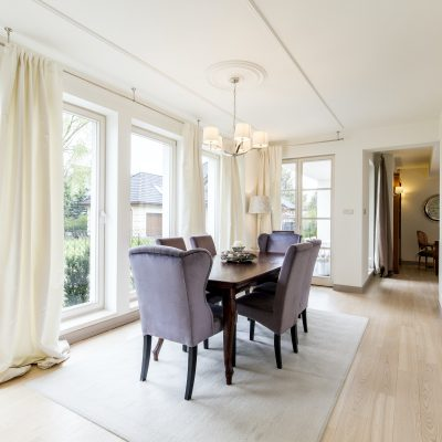 Elegant dining room with table and chairs